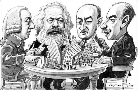 Adam Smith, Karl Marx, Joseph Schumpeter e John Keynes